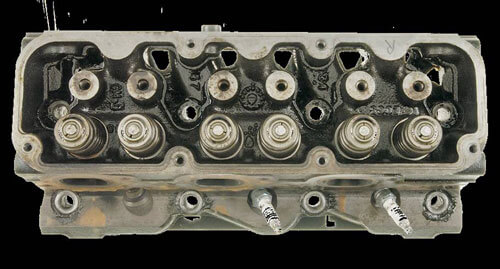 Cylinder head after cleanup with AMSOIL Engine and Transmission Flush.